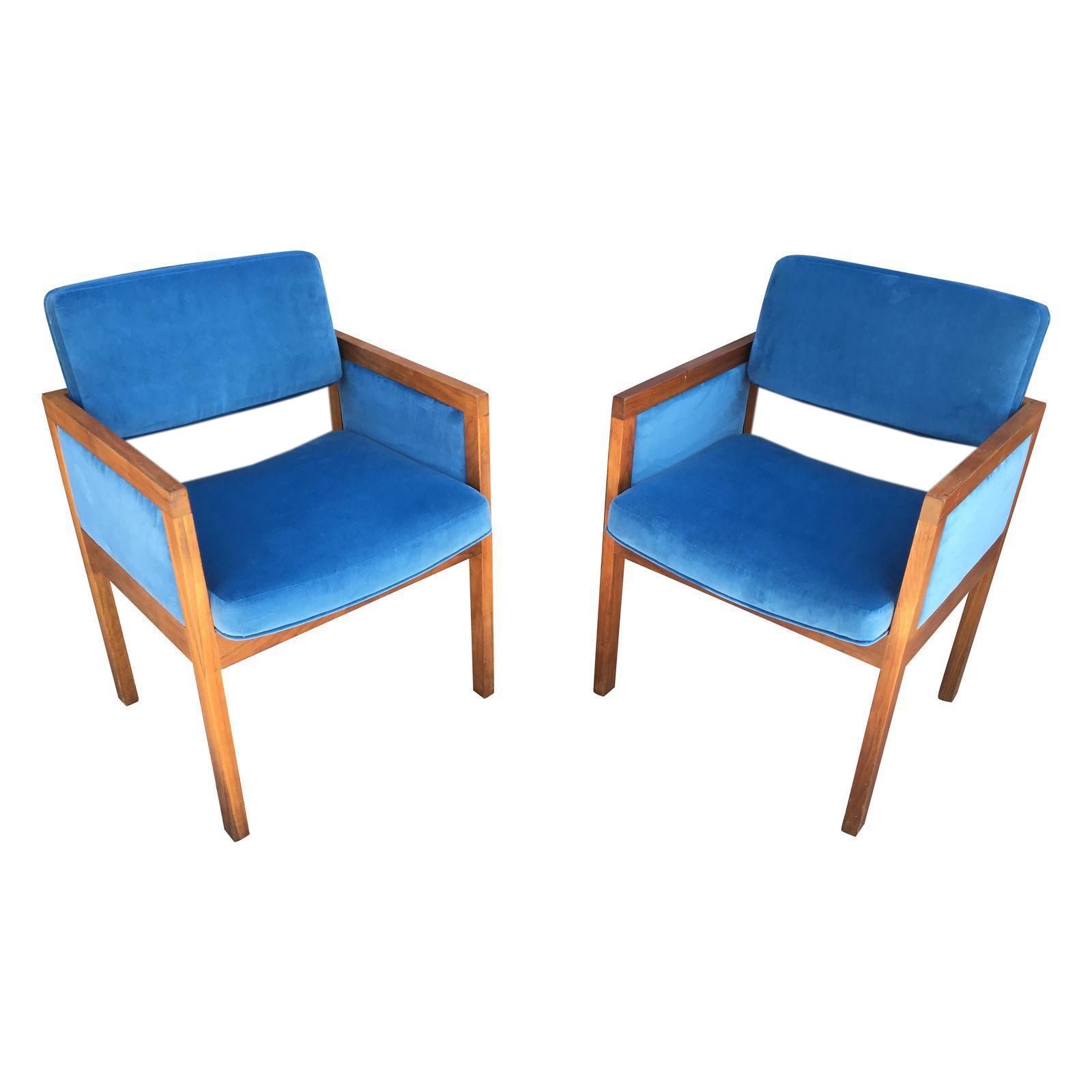 Robert John Walnut Frame Arm Chairs In Royal Blue Velvet